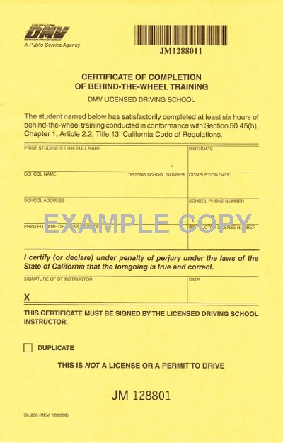 CALIFORNIA DMV LAWS FOR TEENAGE DRIVER FOR PC